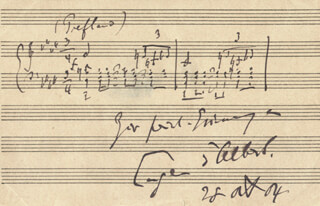 EUGEN D'ALBERT - AUTOGRAPH MUSICAL QUOTATION SIGNED 08/28/1904