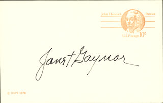 JANET GAYNOR - POST CARD SIGNED
