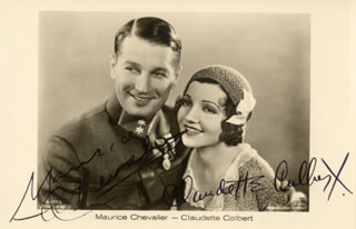 THE SMILING LIEUTENANT MOVIE CAST - PRINTED PHOTOGRAPH SIGNED IN INK CO-SIGNED BY: CLAUDETTE COLBERT, MAURICE CHEVALIER