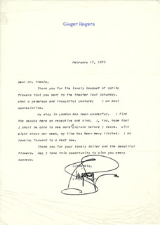 GINGER ROGERS - TYPED LETTER SIGNED 02/17/1970