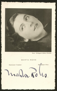 MARTA ROHS - PRINTED PHOTOGRAPH SIGNED IN INK