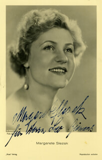 MARGARETE SLEZAK - INSCRIBED PRINTED PHOTOGRAPH SIGNED IN INK