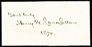 HENRY WADSWORTH LONGFELLOW - AUTOGRAPH SENTIMENT SIGNED 1874