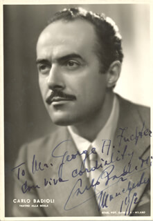 CARLO BADIOLI - AUTOGRAPHED INSCRIBED PHOTOGRAPH 1952