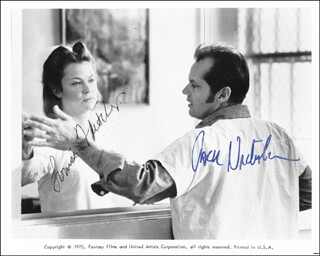 ONE FLEW OVER THE CUCKOO'S NEST CAST - AUTOGRAPHED SIGNED PHOTOGRAPH CO-SIGNED BY: LOUISE FLETCHER, JACK NICHOLSON