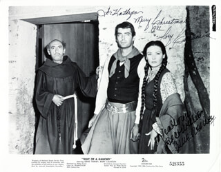 WAY OF A GAUCHO MOVIE CAST - INSCRIBED PRINTED PHOTOGRAPH SIGNED IN INK CIRCA 1981 CO-SIGNED BY: RORY CALHOUN, GENE TIERNEY