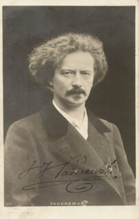 IGNACY JAN PADEREWSKI - PICTURE POST CARD SIGNED CIRCA 1927