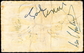 THE BEATLES - PICTURE POST CARD SIGNED CO-SIGNED BY: THE BEATLES (JOHN LENNON), LES CHADWICK, THE BEATLES (PAUL McCARTNEY), THE BEATLES (RINGO STARR)
