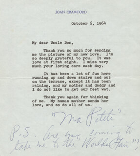 JOAN CRAWFORD - TYPED LETTER SIGNED 10/06/1964