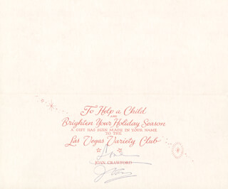 JOAN CRAWFORD - CHRISTMAS / HOLIDAY CARD SIGNED