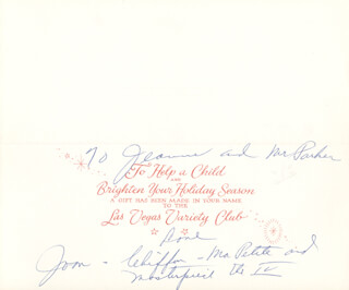 JOAN CRAWFORD - INSCRIBED CHRISTMAS / HOLIDAY CARD SIGNED