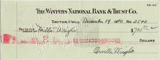 ORVILLE WRIGHT - AUTOGRAPHED SIGNED CHECK 12/19/1940 CO-SIGNED BY: MILTON WRIGHT