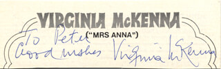 VIRGINIA McKENNA - AUTOGRAPH NOTE SIGNED