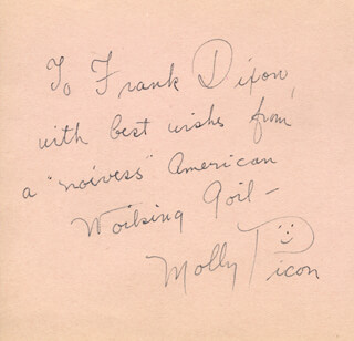 MOLLY PICON - AUTOGRAPH NOTE SIGNED