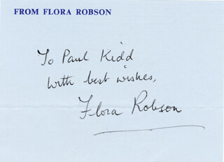 DAME FLORA ROBSON - AUTOGRAPH NOTE SIGNED