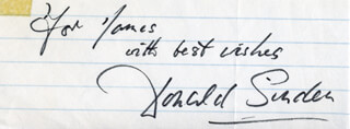 DONALD SINDEN - AUTOGRAPH NOTE SIGNED