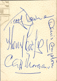 Autographs: DENIS COMPTON - SIGNATURE(S) CO-SIGNED BY: CLIFF MORGAN, TERRY DOWNE, HENRY COOPER