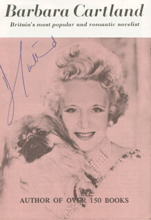 Autographs: BARBARA H. CARTLAND - BIOGRAPHY SIGNED