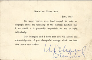 RICHARD DIMBLEBY - TYPED LETTER SIGNED 06/1955