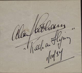 Autographs: SIR ALAN J. COBHAM - AUTOGRAPH QUOTATION SIGNED 10/01/1934