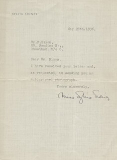 SYLVIA SIDNEY - TYPED LETTER SIGNED 05/28/1936