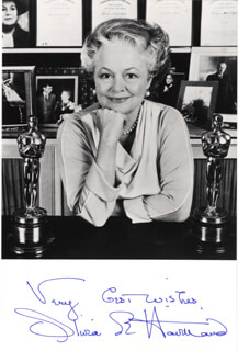 OLIVIA DE HAVILLAND - AUTOGRAPHED SIGNED PHOTOGRAPH