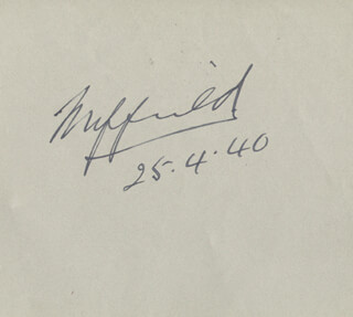 WILLIAM RICHARD MORRIS - AUTOGRAPH 04/25/1940