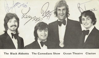 THE BLACK ABBOTTS - PRINTED PHOTOGRAPH SIGNED IN INK CO-SIGNED BY: RUSS ABBOT, LENNIE REYNOLDS, CLIVE JONES, BOBBY TURNER