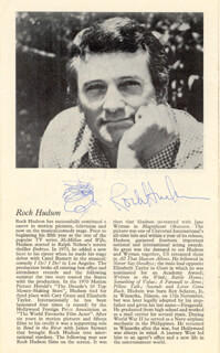 ROCK HUDSON - SHOW BILL SIGNED CIRCA 1976