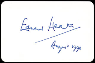 Autographs: PRIME MINISTER EDWARD HEATH (GREAT BRITAIN) - PLAYING CARD SIGNED 8/1990