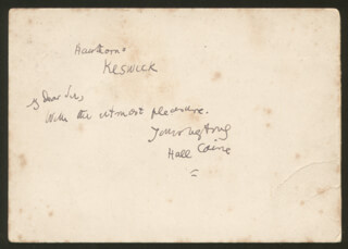 HALL (THOMAS HENRY HALL) CAINE - AUTOGRAPH NOTE SIGNED