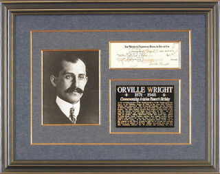 ORVILLE WRIGHT - AUTOGRAPHED SIGNED CHECK 08/19/1940 CO-SIGNED BY: KATHARINE (NIECE) WRIGHT