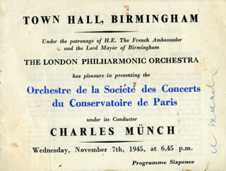 Autographs: CHARLES MUNCH - PROGRAM SIGNED CIRCA 1945