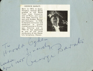 Autographs: GEORGE BARATI - AUTOGRAPH NOTE SIGNED 04/1955