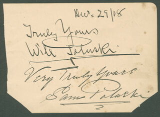 POLUSKI BROTHERS - AUTOGRAPH SENTIMENT SIGNED 12/29/1908 CO-SIGNED BY: POLUSKI BROTHERS (WILL POLUSKI), POLUSKI BROTHERS (SAM POLUSKI), TOM WOOTTWILE