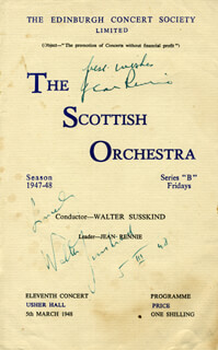 WALTER SUSSKIND - PROGRAM SIGNED 03/05/1948 CO-SIGNED BY: JEAN RENNIE