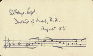 MAJOR SIDNEY VICTOR S. V. HAYS - AUTOGRAPH MUSICAL QUOTATION SIGNED 08/1956
