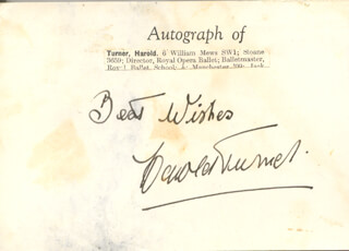 HAROLD TURNER - AUTOGRAPH SENTIMENT SIGNED
