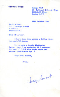 GEORGIE WOOD - TYPED LETTER SIGNED 10/28/1964