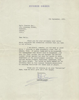 HUGHIE GREEN - TYPED LETTER SIGNED 09/09/1965
