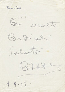 FAUSTO COPPI - AUTOGRAPH NOTE SIGNED 07/06/1955