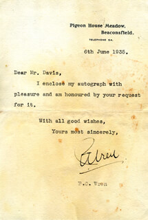 PERCIVAL CHRISTOPHER WREN - TYPED LETTER SIGNED 06/06/1935