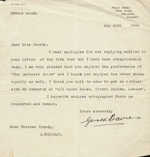 GERALD DAVIES - TYPED LETTER SIGNED 09/30/1949