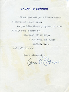CAVAN O'CONNOR - TYPED LETTER SIGNED