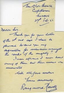 RAYMOND NEWELL - AUTOGRAPH LETTER SIGNED 02/27/1955