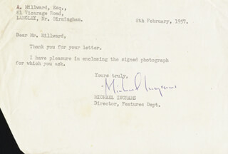 MICHAEL INGRAMS - TYPED LETTER SIGNED 02/08/1957