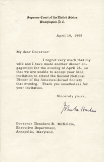 ASSOCIATE JUSTICE JOHN M. HARLAN JR. - TYPED LETTER SIGNED 04/19/1955