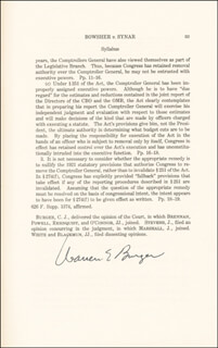 Autographs: CHIEF JUSTICE WARREN E. BURGER - PRINTED SYLLABUS DOUBLE SIGNED IN INK 07/07/1986