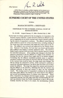 ASSOCIATE JUSTICE BYRON R. WHITE - PRINTED SYLLABUS SIGNED IN INK CIRCA 1984