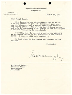 ASSOCIATE JUSTICE FRANK MURPHY - TYPED LETTER SIGNED 08/19/1941